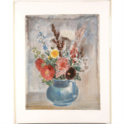 """Floral Bouquet"" by Bernard Klonis Signed Watercolor in Clear Frame 28""x22"""