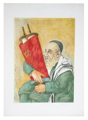 """HOLDING THE TORAH"" BY H. GUERIG SIGNED LITHOGRAPH LE OF 250 29 X 21  W/ CoA"