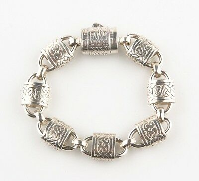 Celtic Knot and Lock Design Sterling Silver Bracelet, Size 7