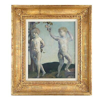"""Brothers"" by Arthur Bowen Davies Oil on Canvas Framed 12"" x 10"""
