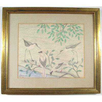 """Birds"" By Lawrence Lebduska 1961 Signed Pencil and Crayon Drawing 21""x24"""