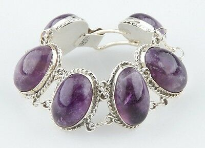 Vintage Cabochon Amethyst Mexico Sterling Silver Bracelet, Size 6.25