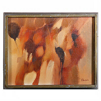 Untitled I (Abstract Browns) By Spencer Signed Oil Painting on Valbonite 11x14