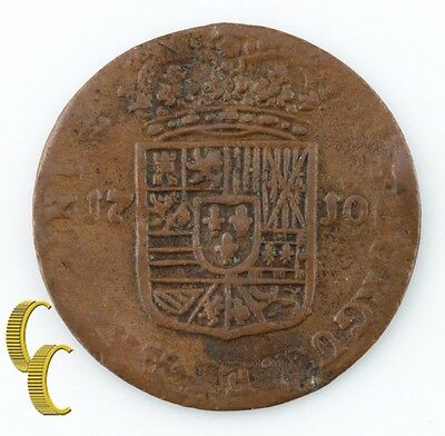 1710 Spanish Netherlands Liard (Very Fine, VF) Namur Philip V Coin KM-37