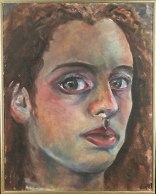 "Untitled (Close-Crop Portrait of Woman) Signed Acrylic Painting 20 1/2""x16 1/2"""