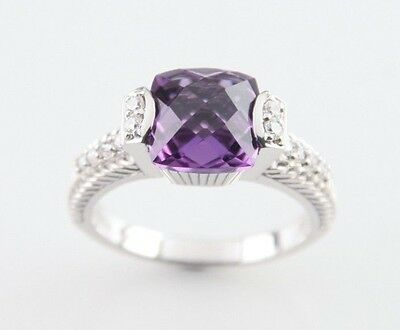 Judith Ripka Sterling Silver Cushion Cut Amethyst Solitaire Ring w/ CZs Size 10