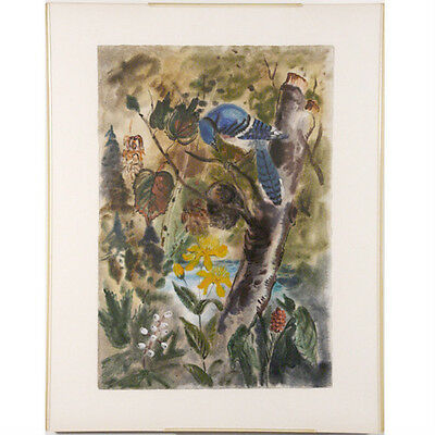 "Untitled (Blue Bird) by Bernard Klonis Signed Watercolor in Clear Frame 28""x22"""