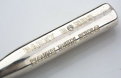 Commemorative Sterling Silver & Diamond Barry Bonds Home Run King Baseball Bat