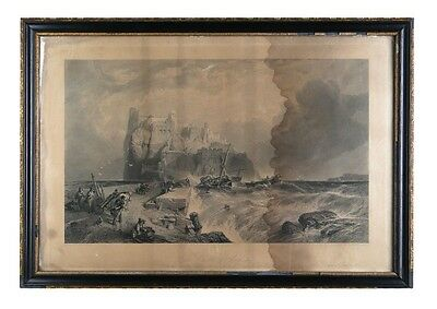 """The Castle of Ischia"" Etching by Clarkson Frederick Stanfield, Framed 29x20"""
