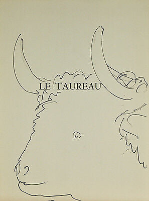 """Le Taureau"" By Pablo Picasso Lithograph from Buffon Book 14 3/4""x11"""