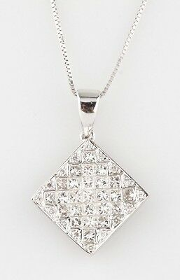 14k White Gold Princess & Round Cut Diamond Pendant Necklace TDW = .88 ct