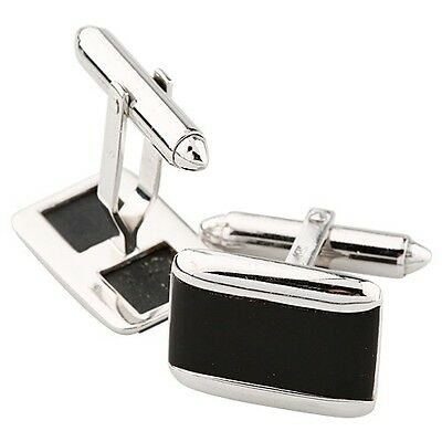 14k White Gold & Onyx Rectangular Bordered Cuff Links