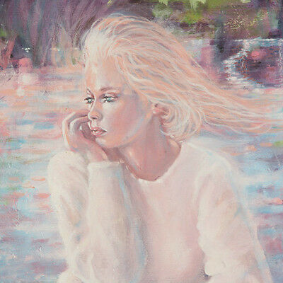 """Pensive"" By Anthony Sidoni 1991 Signed Oil on Canvas 18""x24"""