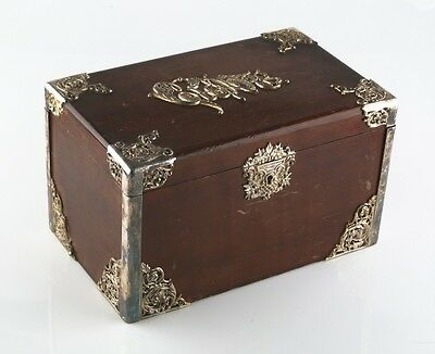 Vintage Wood Cigar Box Humidor w/ Metal Liner & Antique Silverplate Filigree