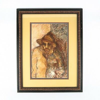Lot of 2 Pieces by Manuel Valles Gomez: 1 Charcoal Drawing, 1 Watercolor/Gouache