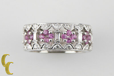 18k White Gold Diamond and Pink Sapphire Band Ring Size 6.75 TCW = 1.75 ct
