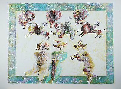 """Jouers De Flute"" By Sakti Burman Lithograph On Paper Limited Ed. Of 175"