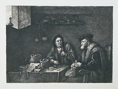 """The Money Changers"" by G.W. Rhead Etching Signed in Plate 9 1/2""x14"""