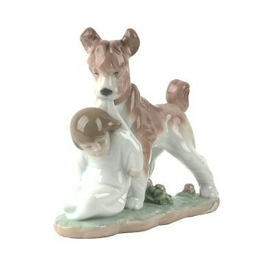 "Lladro #6556 ""Safe and Sound"" Dog Guarding Young Boy Retired Piece!"