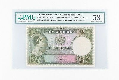 1944 Luxembourg / Allied Occupation WWII 50 Franc Note Pick 45 PMG AU-53 SB104a