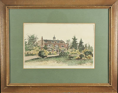 """Home of Charles Dickens"" By James Fagan Signed Aquatint Etching 14 1/2""x18 1/2"""