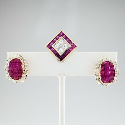 5.75 carat Ruby & 1.35 carat Diamond 18k Yellow Gold Earring and Pendant Set