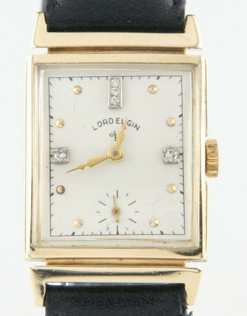 Lord Elgin Vtg 14k Yellow Gold & Diamond Hand-Winding Watch w/ Leather Band