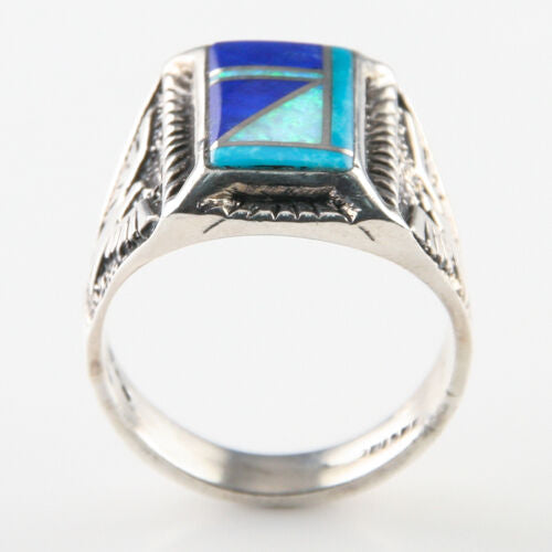 Lapis, Opal and Turquoise Sterling Inlay Ring