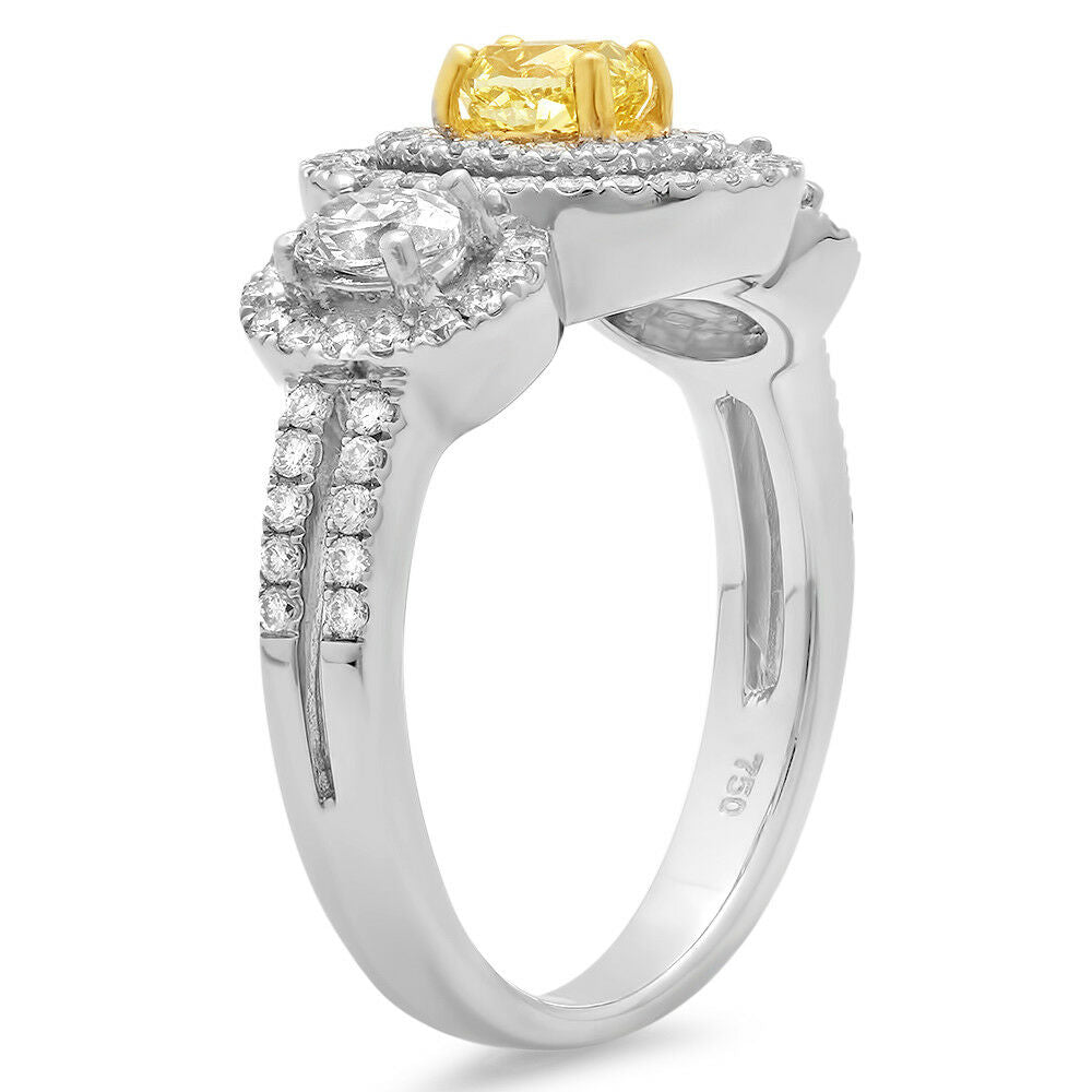 Fancy Yellow Oval Diamond 18k Two Tone Gold Engagement Ring Size 6.5