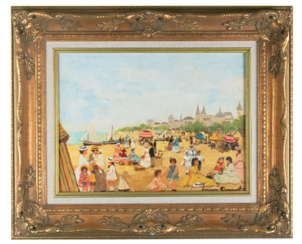 """Au Plâge"" by Suzanne Demarest, Framed Oil on Canvas, 12"" x 16"" w/ CoA"