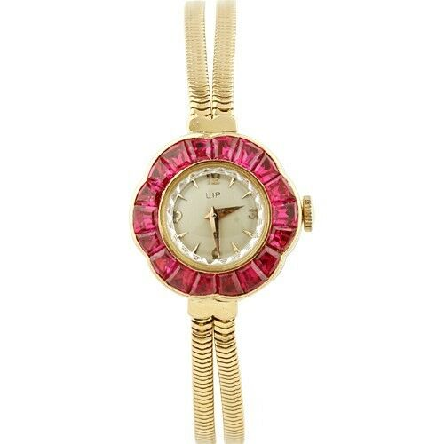 LIP Ruby Bezel Hand-Winding 18k Yellow Gold Women's Watch w/ Gold Band