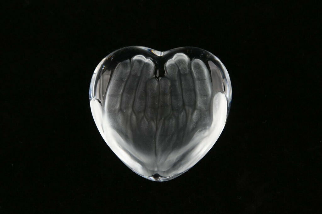 "Daum Art Glass ""Le Couer Hands"" Clear Crystal Paperweight Gorgeous!"
