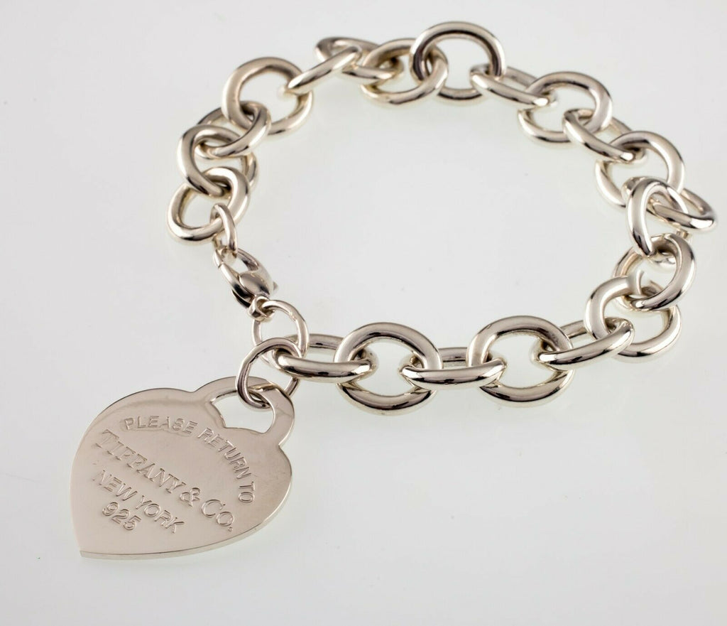 "Tiffany & Co. Sterling Silver ""Return to"" Heart Tag Bracelet Large Size w/ Pouch"