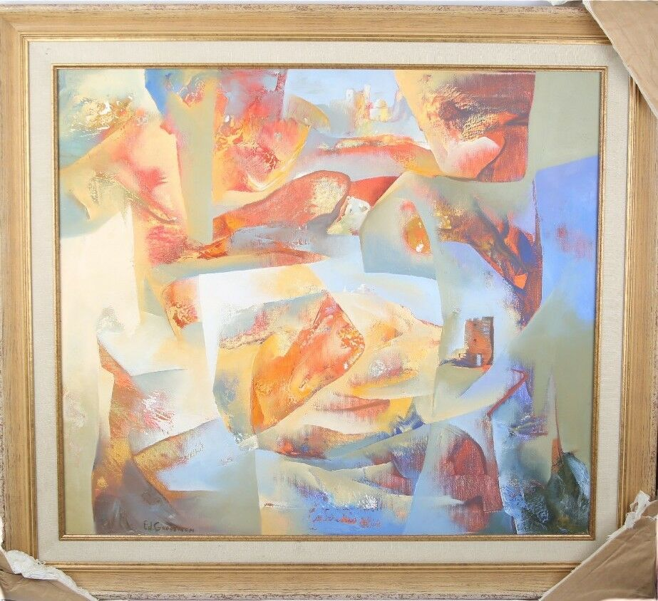 Eduard Grossman Untitled (Abstract in Blue, Red, and Orange) Oil on Canvas