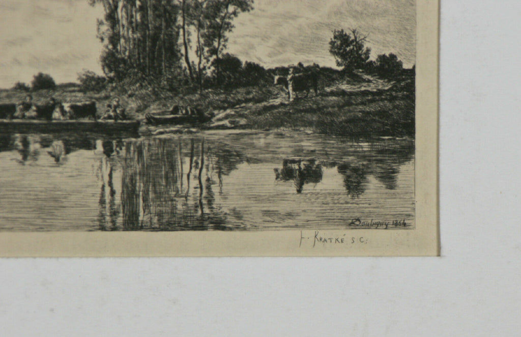 """Ferryman of The Oise"" By Charles-Louise Kratke Etching after Daubigny 5 1/4""x8"""