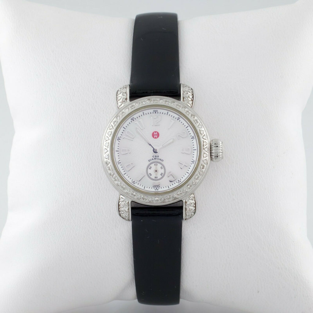 Michele Stainless Steel Diamond CSX Quartz Women's Watch w/ Leather Band