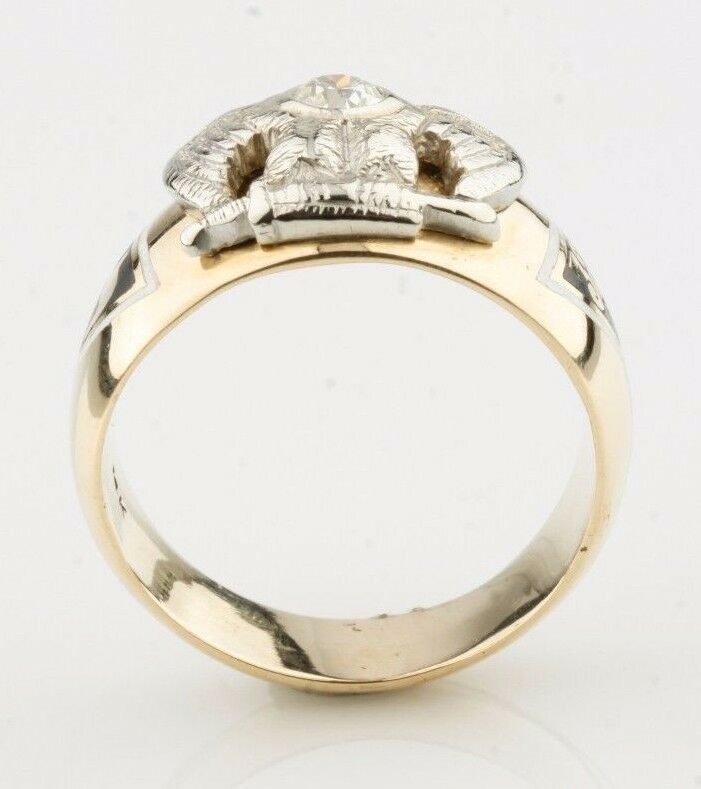 Vintage 14k Gold Diamond 32° Master Mason Ring (Size 11) Scottish Rite