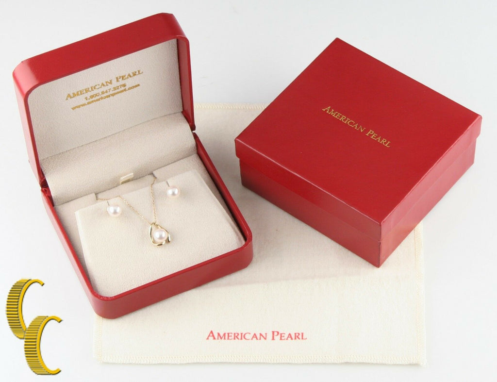 American Pearl 14k Yellow Gold Pendant & Stud Earring Set Great Gift For Her!