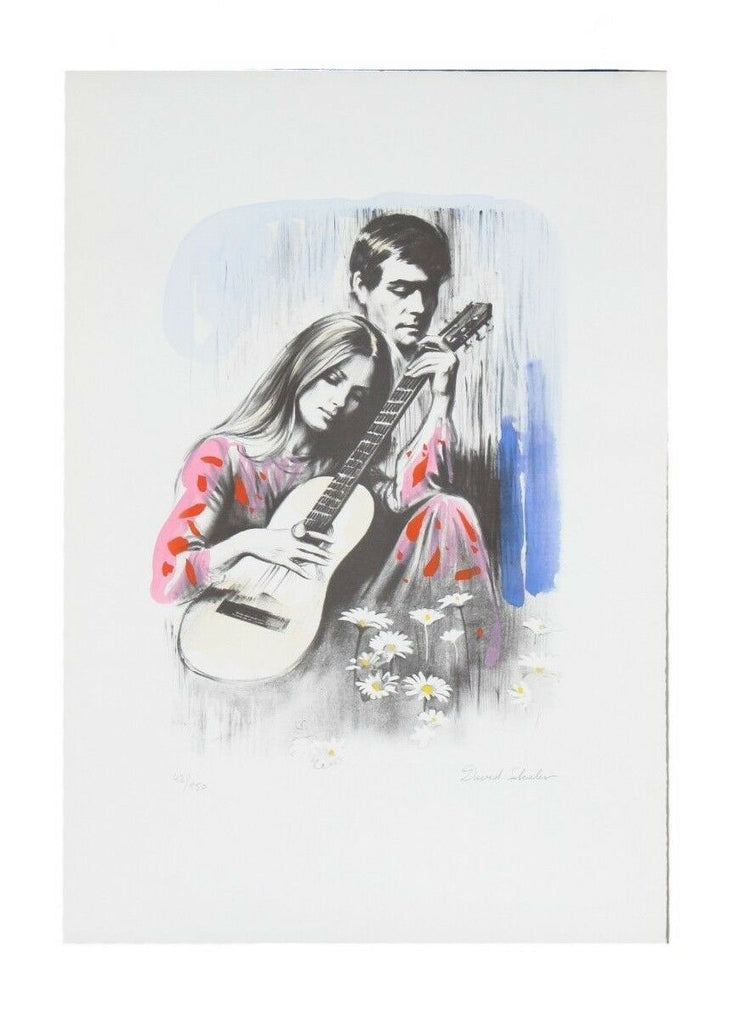 """Playing Guitar"" by David Shalev Hand-Colored Lithograph on Paper LE of 150 CoA"