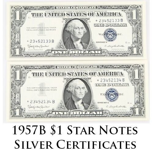 Lot of 2 Consecutive 1957 $1 Silver Certificate ☆ Star Notes UNC Condition