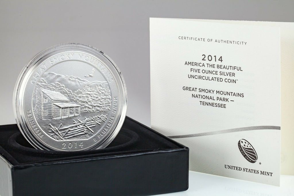 "2014 .999 Silver 5 Oz. ""America the Beautiful"" Great Smoky Mountains Box CoA ATB"