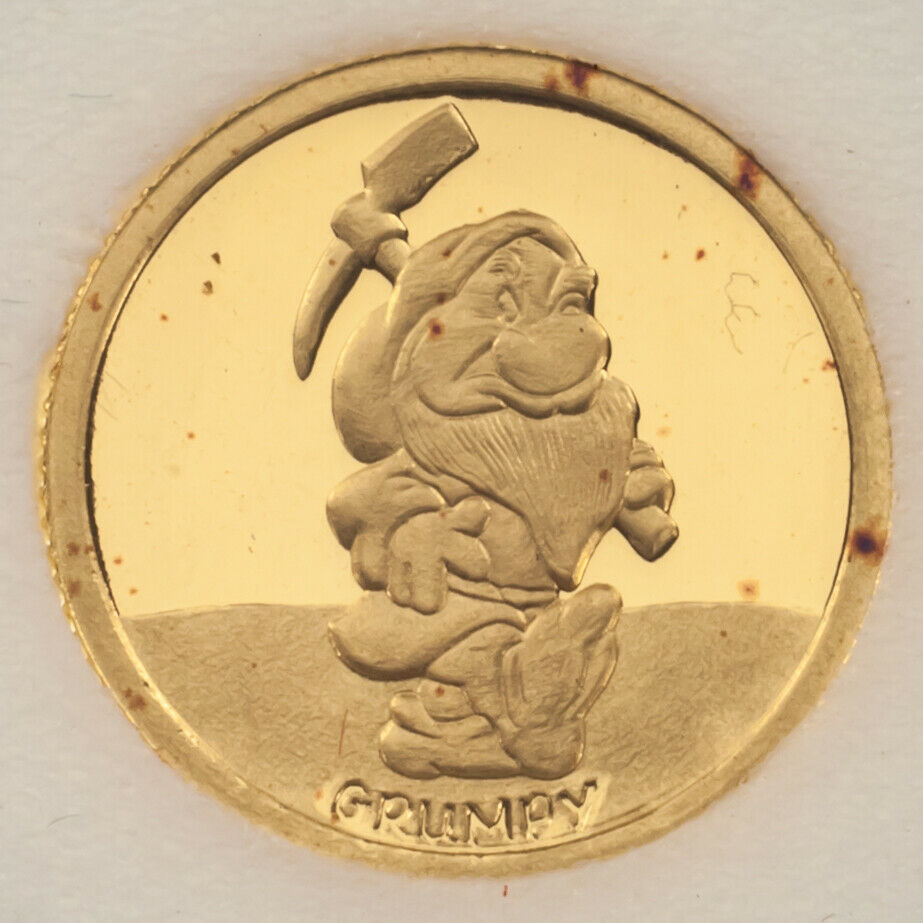 Rarities 1987 Grumpy 1/10 Oz .999 Fine Gold Collectible Round