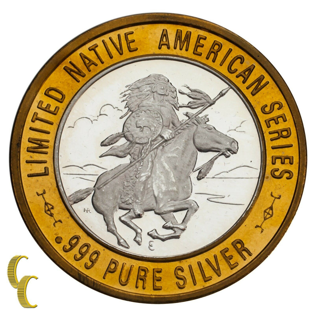 Chief Medicine Crow Native American Casino Gaming Token .999 Silver Limited Ed.