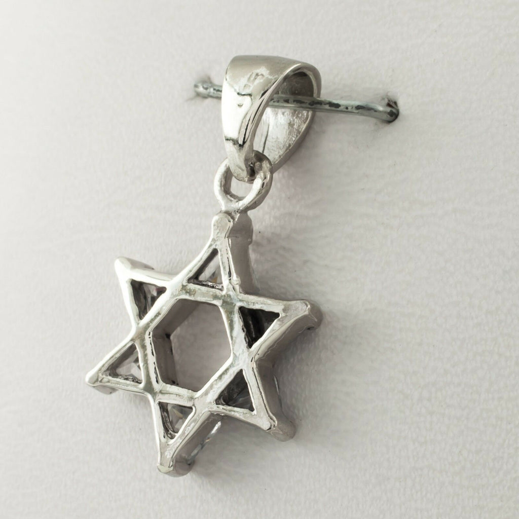 Sterling Silver Star of David Pendant w/ Crystal Accents