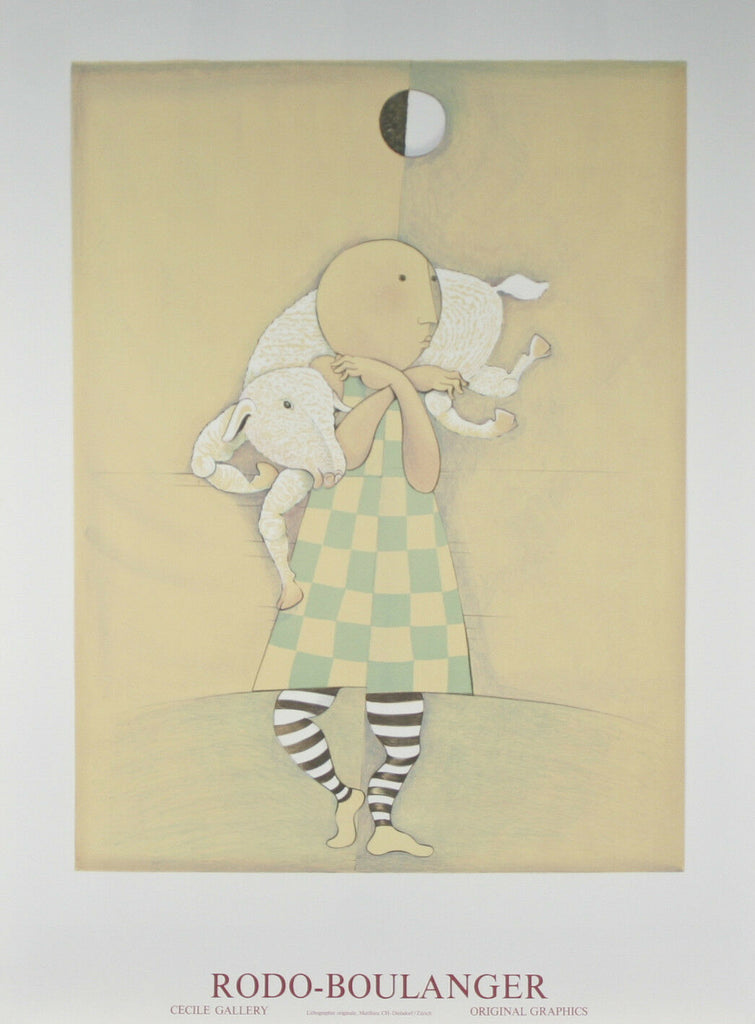 """Girl With Lamb"" by Graciela Rodo Boulanger Lithograph 39""x 27 1/2"""
