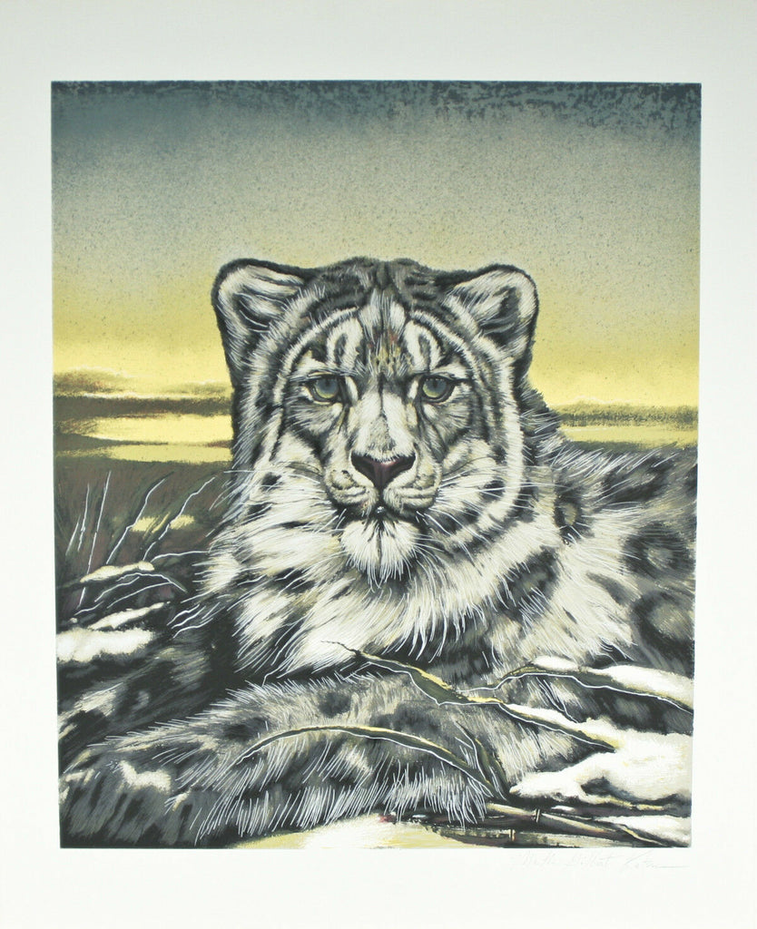 """Chinese Snow Leopard"" by Martin G. Katon Signed Trial Proof TP Lithograph 29x24"