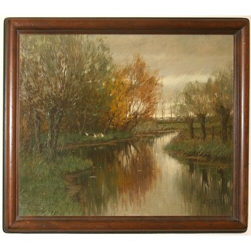 "Untitled (Vordense Beek) by Arnold Marc Gorter Oil on Canvas 20"" x 25.5"" Signed"