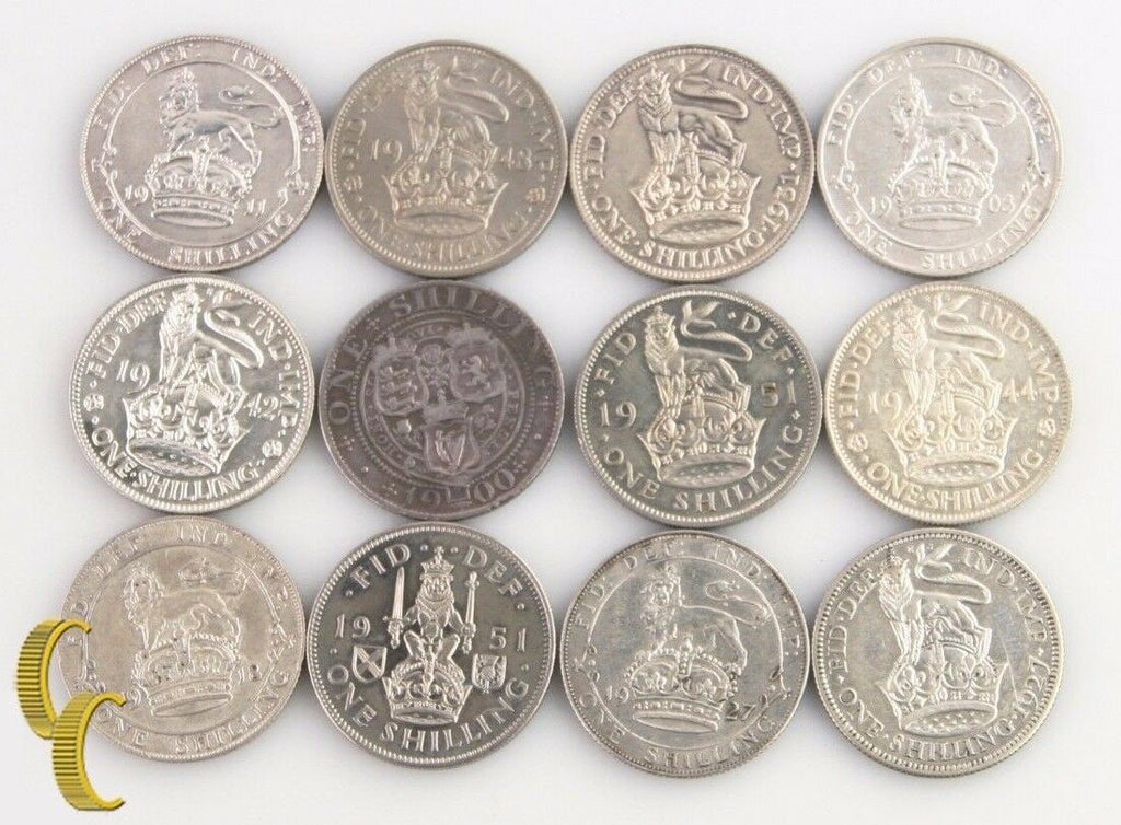 1900-1951 Great Britain 1 Shilling Lot (VF-BU, 12 coins) Victoria Edward George