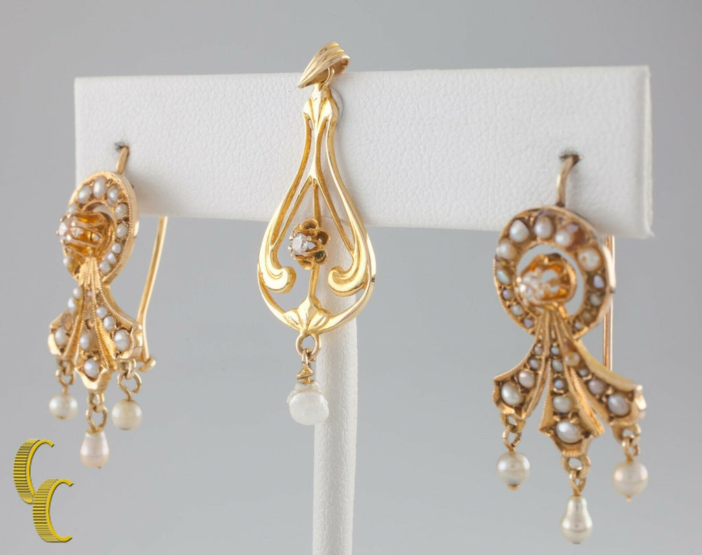 Diamond & Seed Pearl Vintage 14k Yellow Gold Pendant & Earring Set