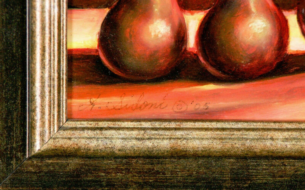 """Three Pears"" By Anthony Sidoni 2005 Oil Painting 11""x13"""